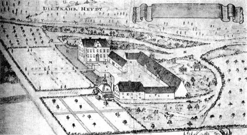 Kommende Traar um 1760 (Siehe: http://commons.wikimedia.org/wiki/File:Haus_Traar_1760.png (11.06.2013))