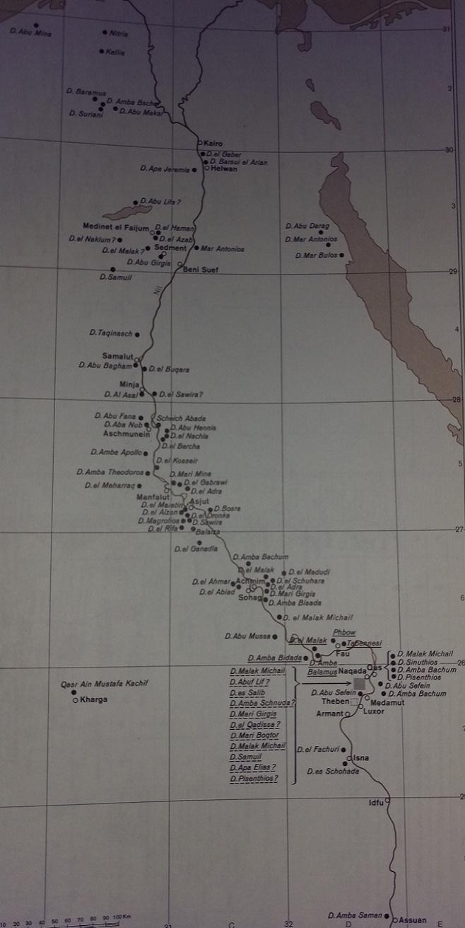 Karte der Ägyptischen Mönchsklöster (4.-9. Jahrhundert).